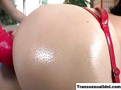TS Gina Hart dildo fuck and cumshot