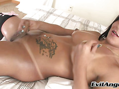 Sultry TS Thabata Piurany in cock masturbation and blowjob action