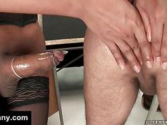 Tranny schoolgirl fucks her teacher