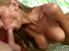 Gorgeous tranny blowjob then fucked a dude tight asshole
