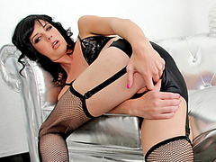 Slim tgirl vixen Mandy Mitchell fucks female Adrianna Nicole