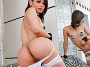 Tgirl nymph Gabriella Andrade moans it out loud while fucked