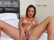 Lusty shemale masturbates her big cock