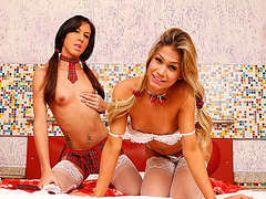 Transgirls Gabriela and Gabby in threesome anal sex with a hot guy