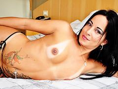 Erotic Tgirl Thabata makes her cock cum in solo masturbation