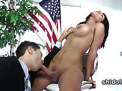 Tranny Jane Marie cock sucked in the office