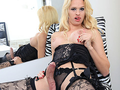Blondie Tgirl Danny Lisboa in sexy masturbation and cum jizzed