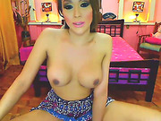 Shemale Bombshell Plays with Hard Cock