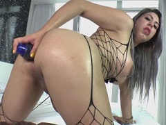 Busty TS Julie toying her ass and jerks