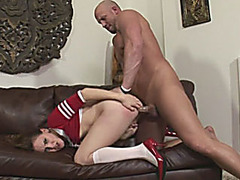 Cheerleader tranny in uniform ass fucked