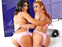 Sizzlin hot ladyboys Proud and Champagne gets asses ripped