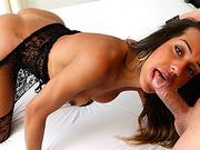 Shemale Brenda Castro rides wild a thick dick in bareback sex