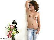 ladyboy top model shows perky tits