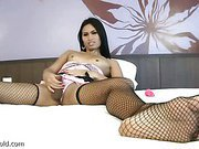 ladyboy in fishnets is rubbing her cock