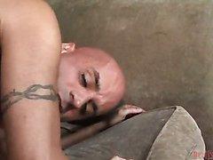 blondie shemale pornstar is fucking a bald guy