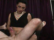 shemale milf in fishnets pokes a lucky guy part 1
