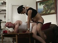shemale milf in fishnets pokes a lucky guy part 2