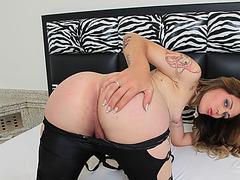 Tgirl Carla Cardille strokes her she cock until she spurts cum