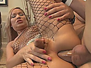 Glamour shemale in body stockings analed