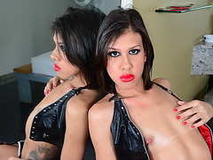 Ladyboys Fernanda and Gab love to play along with their hard she shafts
