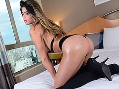 Busty shemale Leticia enjoys her extreme cock riding encounter with Alex
