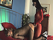Busty whore wears strapon to fuck tranny
