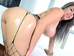 Slender shemale Julie T wanks her dick and explodes hot cum