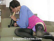 Emilia&Gilbert strapon pussyclothed sex video