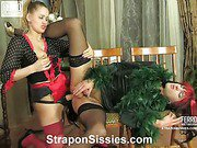 Susanna&Cyrus pussyguy in strapon action