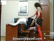 Millie&Frank strapon pussyclothed sex video