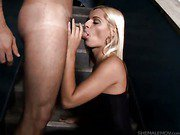 beautiful blonde shemale gives head