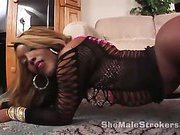 beauty ebony shemale is working on her black cock