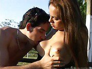 a sexy shemale outdoors blowjob