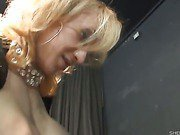 busty mature blonde shemale takes a dick ride