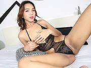 Asian Tgirl Fiat in daring ass twerking and cock masturbation