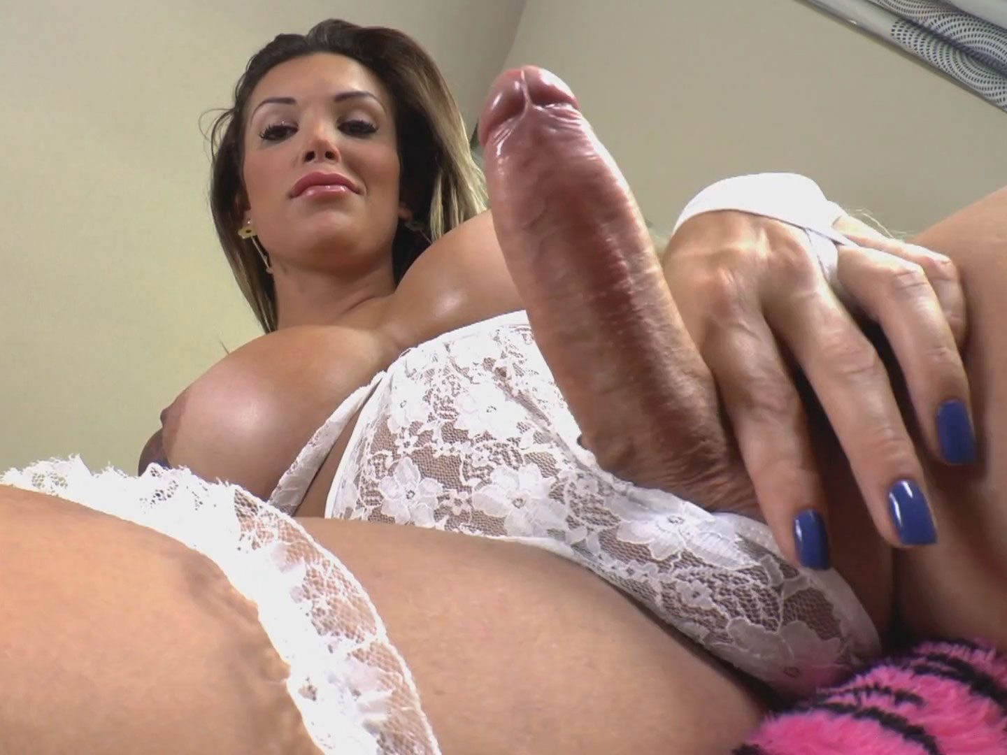 Playful Russian Shemale With Fat Titties Strokes Her Fat Cock