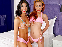 Lusty ladyboys Proud and Champagne take turns ass fucked