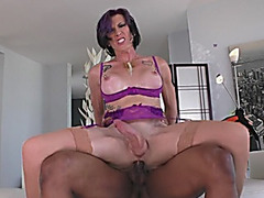 Huge tits shemale gets her anal rammed