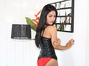 Asian TS Manow pump her dick and cum in a solo masturbation