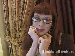 Shemale hottie Tara Emory strokes her cock