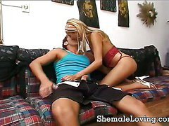 Cute shemale riding a hard cock