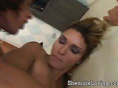 Shemale gets her shaved asshole pounded