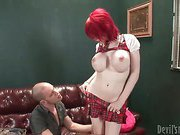 perfect redhead tranny is getting sucked