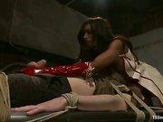 ebony shemale dominating a kinky slave