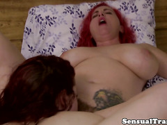 Straponfucked transexual pulling on her stiff dick
