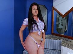 Big ass Tranny Nicole manage to make cum in solo masturbation
