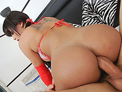 Big ass and busty shemale anal screwed by hard man meat