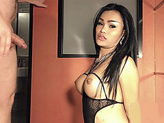 Busty ladyboy gives an amazing wet blowjob on video