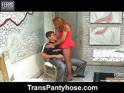 Bruna shemale pantyhose action