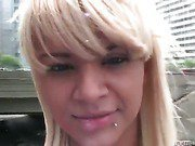 drop dead blonde doll strips and plays her sheshaft